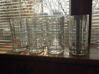 6 heavy Anchor Hocking Tartan Manchester 16 oz beverage glasses tumblers