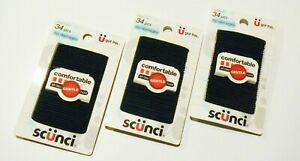 Scunci 15975 Gentle Hold No Damage Black Hair Elastics 34/Card QTY 3 Cards
