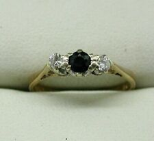 Pretty 9 carat Gold Sapphire And Diamond Three Stone Ring Size K