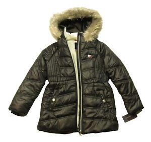 Tommy Hilfiger Girls Black Chevron Hooded Puffer Jacket