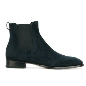 Men Genuine Suede Formal Chelsea Boots Casual British Pull on Ankle Boots PlusSZ