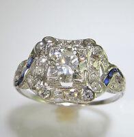 Art Deco Diamond Sapphire Engagement Ring Platinum 1920s OEC European Cut Gatsby