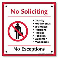 (4 Pack) No Soliciting No Exceptions Self Adhesive Sticker - Do Not Disturb.