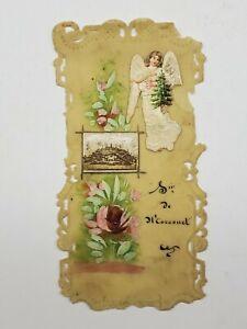 Vintage Prayer Card Handmade Hand Colored Angel Catholic Christian Collectible