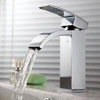 Waterfall Deck Mount Single Handle Hole Bathroom Basin Sink Mixer Faucet Taps