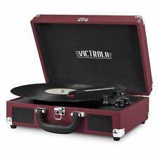 Victrola 3-Speed Bluetooth Speakers Suitcase Record Player Turntable, Marsala