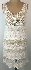 AE Crocheted Lace Tank Dress XS Ivory See Through Unlined Cotton Boho Festival