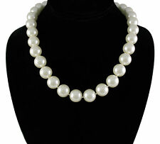 Elegant Large 14mm Faux White Pearl 20 inch Necklace with Silver Plated Clasp