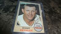1968 TOPPS WOODIE FRYMAN AUTOGRAPHED BASEBALL CARD
