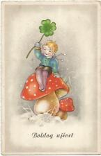 Mushroom, Girl Sitting on a Big Mushroom with a Clover, New Year, Old Postcard