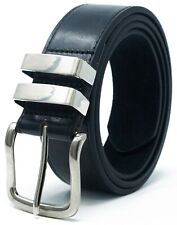 Mens Leather Lined Belt 25mm Wide Great for Trousers /& Jeans Blue Black