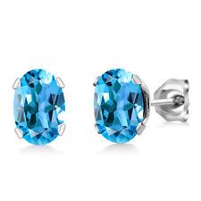 1.60 Ct Oval Shape Swiss Blue Topaz Silver Plated Brass Stud Earrings