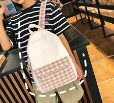 Womens Unisex Beige Check Red White Tartan Cotton Canvas Bag Backpack Couples