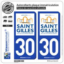 2 Blasonimmat plaque d'immatriculation | 30 Saint-Gilles - Commune | 30800