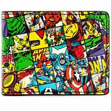 NEW OFFICIAL MARVEL AVENGERS CHECKED CHARACTERS BLACK ID & CARD BI-FOLD WALLET