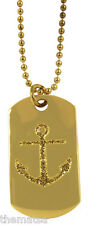 "NAVY LADIES GOLD SCHIMMER ANCHOR  ENGRAVABLE MILITARY  DOG TAG WITH 24"" CHAIN"