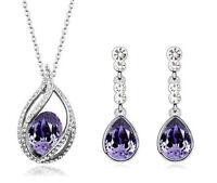 Diamante Purple Water Drop Jewellery Set Stud Earrings & Necklace S534