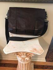 FOSSIL DEFENDER Leather  Briefcase Messenger Laptop Bag Mens Brown