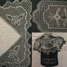 Vintage 1930s Butterfly Tea Cup Jug Cover Raised Rose Crochet Pattern Semco 9