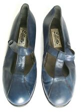UK 6 Blue Leather Flat T-Bar Vintage Shoes - 1990s - Effetto by Nicoletto