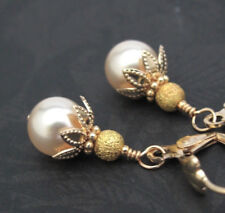 PEARL earrings SUGAR GOLD CRYSTAL BEADED VICTORIAN Dangle gold plated leverback
