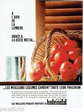 PUBLICITE ADVERTISING 126  1966  la  boite  conserves métal  tomates
