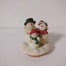 "Vtg Christmas Holiday Ceramic Snowman Candle Topper Lid Cork Bottom 2"" Across"