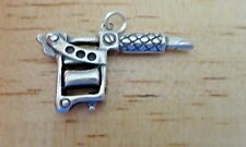 Sterling Silver 3D large 6gram 33x20mm Tattoo Gun Machine Charm