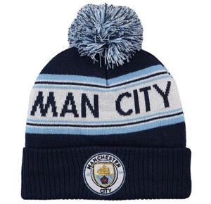Manchester City Official Adults Unisex Wordmark Bobble Knit Fleece Beanie Hat