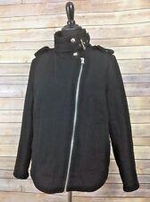 Forever 21 Coat Black Wool Blend Moto Bomber Jacket Silver Metal Trim Buckles M