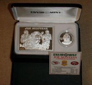 JOE MONTANA SAN FRAN 49ERS ENVIROMINT 999 SILVER ROUND COIN & CARD MATCH 1 / 500