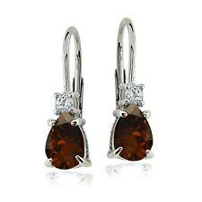 Sterling Silver Garnet & White Topaz Teardrop Leverback Earrings