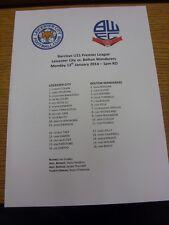 13/01/2014 Leicester City U21 V Bolton Wanderers U21 (Feuillet Unique). merci pour