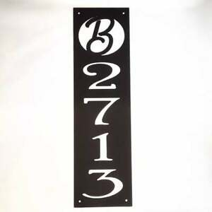 Metal Vertical Address Sign With Fancy Font and Monogram Letter Custom Paint Pla