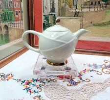 """VINTAGE HALL POTTERY #0218 MODERNE CREAM AND GOLD 6 3/4"""" TEAPOT 1930-1960"""