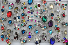 30pcs New Style Wholesale Mixed Lots Crystal Rhinestone Women's Charm Ring AH548