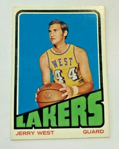 1972-73 TOPPS #75 JERRY WEST LAKERS ( NOTE GUM STAIN ALONG THE FRONT)
