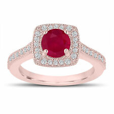 1.28 Carat Red Ruby Engagement Ring, Wedding Ring 14K Rose Gold Halo Pave