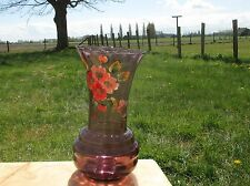 Large Doyen Art Deco Purple Amethyst Hooped Vase Painted Flowers Handpainted