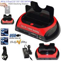 2.5″ 3.5″ HDD Docking Station Dual IDE SATA HUB Hard Drive USB Dock Card Reader