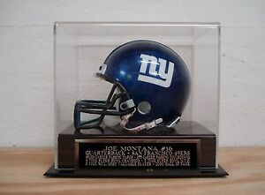 Joe Montana Football Mini Helmet Display Case W/ A 49ers Engraved Nameplate
