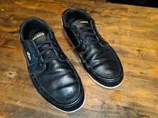 Lacoste Dreyfus AP Mens Sport Casual Leather Boat SHOES Black/Gold Size 12