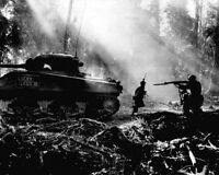New 8x10 World War II Photo: U.S. Infantrymen Cover Tanks at Bougainville, 1944