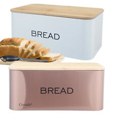 Stainless Steel Bread Bin With Bamboo Wooden Cutting Board Lid Food Storage Box