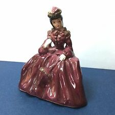 Vintage Victorian Lady Figure Fancy Dress Girl Sitting Shelf Porcelain Figurine