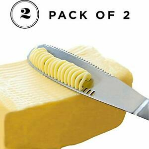 2pcs 3in1 Butter Knife Stainless Steel Butter Curler Spreader with Serrated Edge