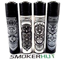 Clipper Lighter Set - Owls - Tattoo Animals - Black White Rare Collection x4 pcs
