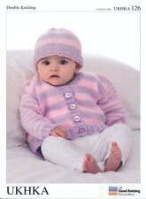 Double Knitting DK Pattern Baby Long Sleeved Striped Cardigan & Hat UKHKA 126