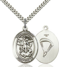 925 Sterling Silver St Michael Paratrooper Military Catholic Medal Necklace