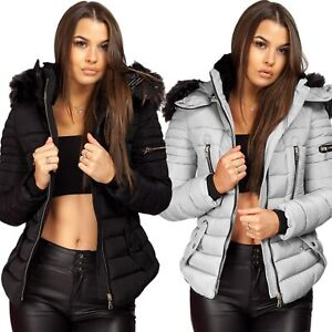 Ladies Women Quilted Puffer Bubble Padded Warm Chunky Fur Hood Thick Coat Jacket